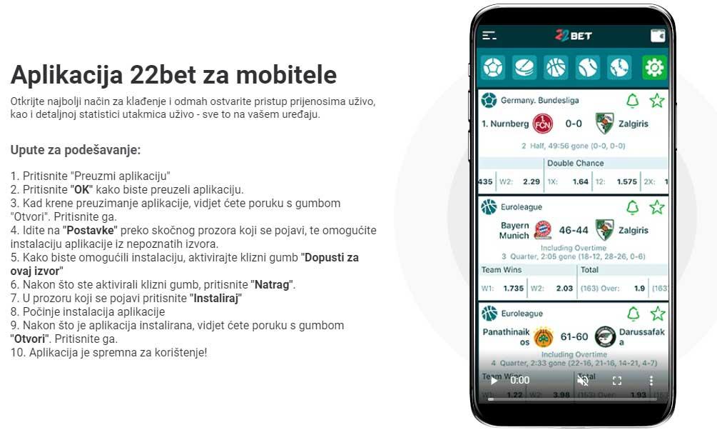 22bet mobil alkalmazás